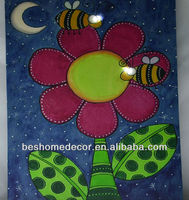 Cartoon flower and bee canvas painting for kid's room decoration, Led light shiny art picture