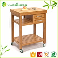 Customized High Quality Bamboo wooden kitchen vegetable cart