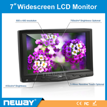 800X480 TFT Display VGA Input 12V 7 Inch Small Car Bus LCD Monitor