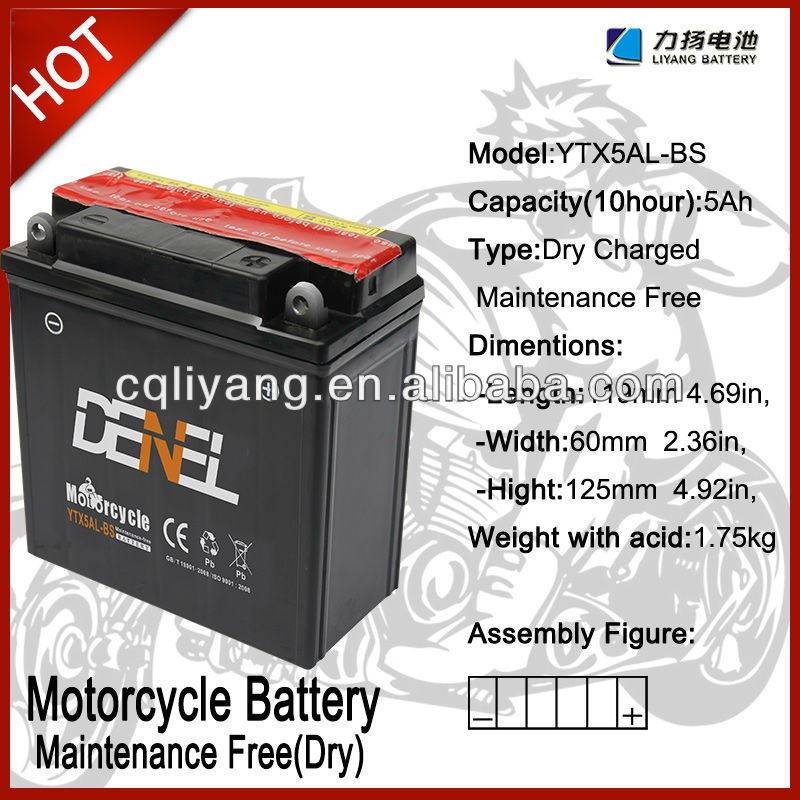 12V5AH-YB5L B motorcycle battery