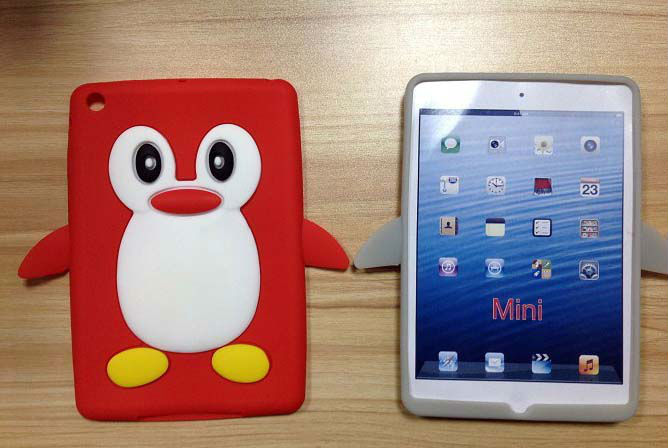 2013 fashionable hot selling silicon rubber penguin case for ipad mini case