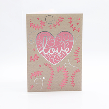 2D Laser cut romantic greeting card for Valentine's Day