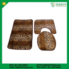 Sexy leopard polyester surface latex backed 3pcs set bathroom chinese bathroom mats sets