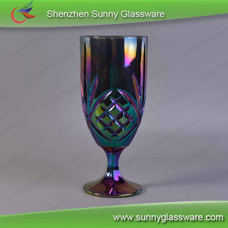 450ml Luxury Iridescence Stemmed Water Cup Red Wine Glass Custom