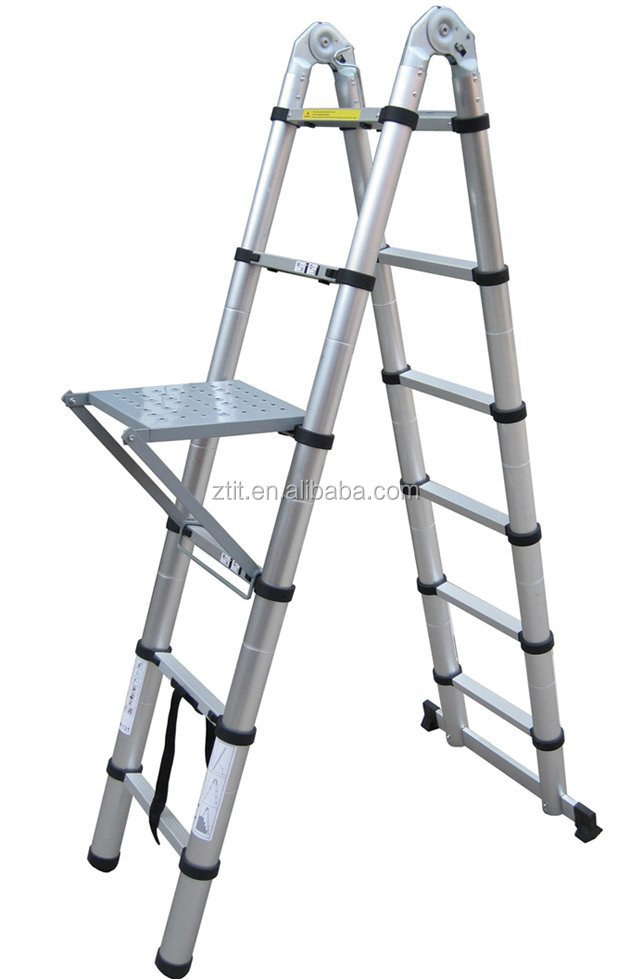 Collapsible Ladder 8 : Climbing higher a frame with workshelf utility ladder