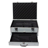 Portable aluminum case box with drawer and custom inner lining RZ-ST-074