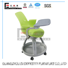 European Training Center Resin Plastic Training Chair with Circlar Swivel Base and Arms