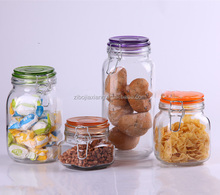 Hot-sell glass cookie jar with metal clip