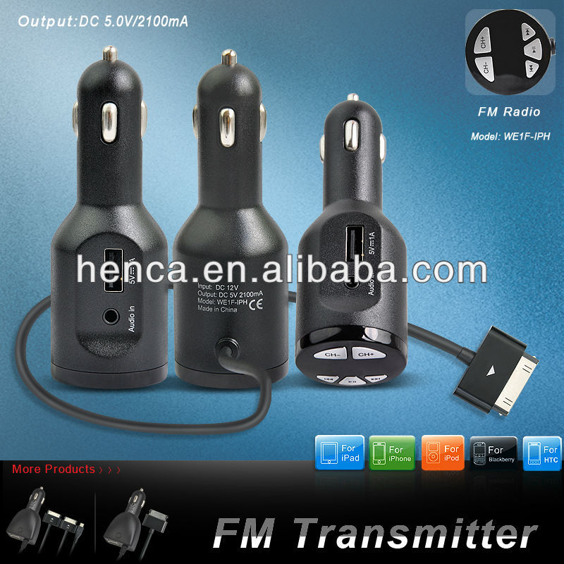 2013 new design FM transmitter wireless usb car charger for iPhone