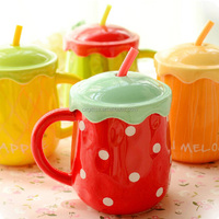 OXGIFT Wholesale Manufacturing Factory Price Amazon Big belly fruit porcelain tea mug Ceramic Coffee mug cup With straw lid