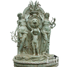 Factory Supply bronze wall fountains with lion head sculpture