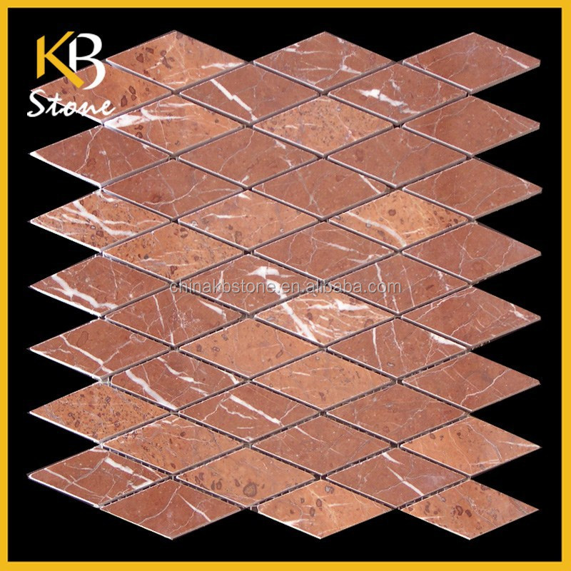Rhombus Dragon Scale Red Polished Marble Tile mosaic dragon