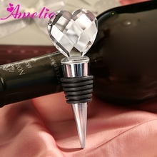 A08G58-Chrome With Crystal Heart Design Bottle Stoppers Birthday Party Favors