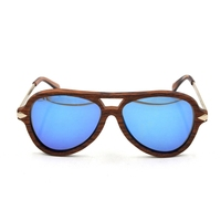 Spring hinge wood frame with metal temple uv400 polarized ce sunglasses