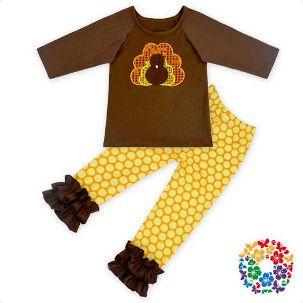 thanksgiving days long sleeve turkey embriodery shirt with tight icing pant set for kids