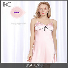 Factory promotion delicates satin pink babydoll deep v spaghetti strap night wear lingerie sleepwear girls