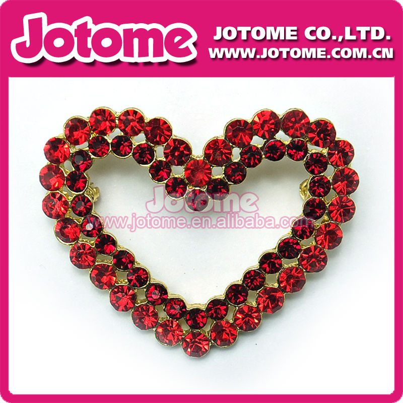 Colorful Rhinestone Brooches with heart Shape
