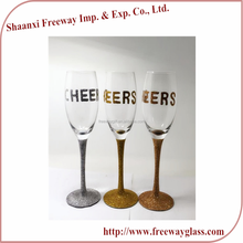 wholesale wedding long-stem Champagne flutes with golden glitter