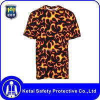 Custom short sleeve long sleeve flame print shirts of round neck