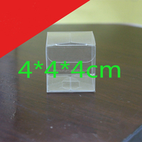 300pcs 4x4x4cm Clear PVC favor Packaging boxes transparent plastic gift display package square Box show case DHL Freeshipping
