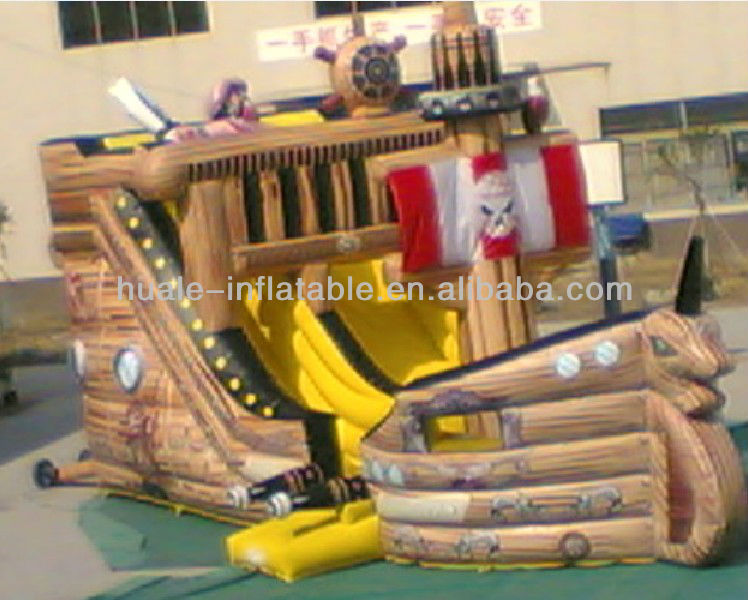 Wooden pirate ship Inflatble slide