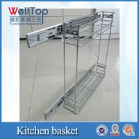 Pull out kitchen steel wire basket drawers