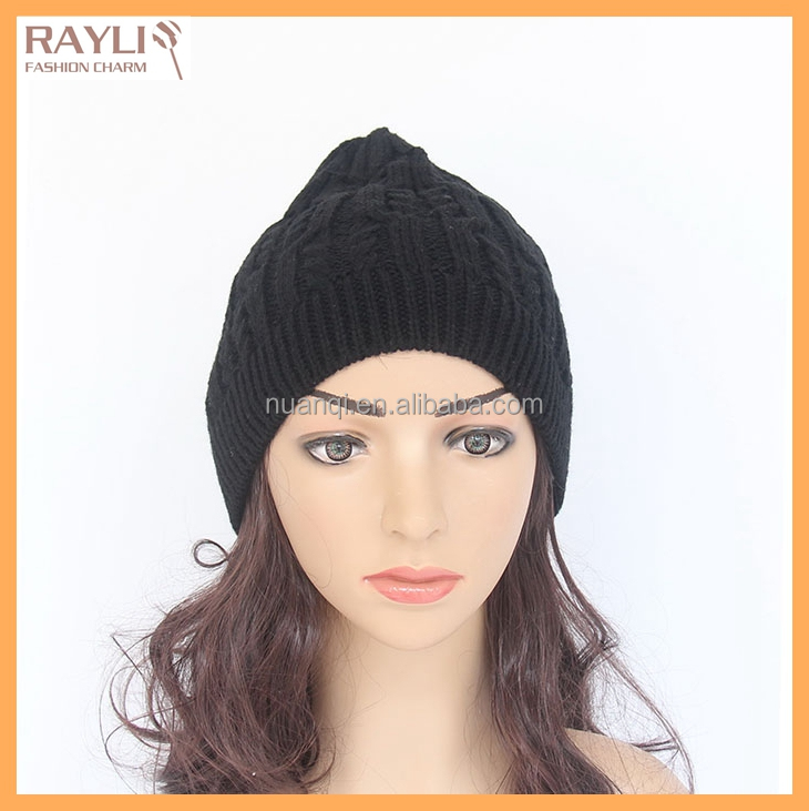 Cool black stretch winter knitted beanie hat for girls