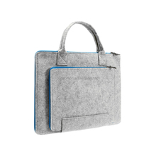 Customized Wool Felt Leather Travel Carrying Handle Storage Laptop Sleeve For Ultrabook Computer Notebook
