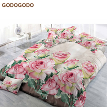 Home Choice Exquisite Flower Design Luxury Comforter Set Wedding Super King Size Red Rose 3D Bedding