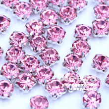 high quality machine cut light pink round sew on rhinestones glass chatons in claw for shoes/bag