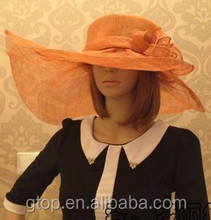 Wholesale Fashion Women Ladies Dressy Wide Brim Church Hat Sinamay Hats H-4