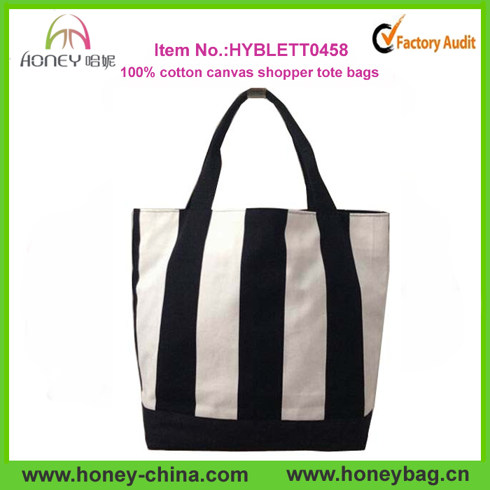 Wholesale black & white stripe 100% cotton canvas shopping tote bags