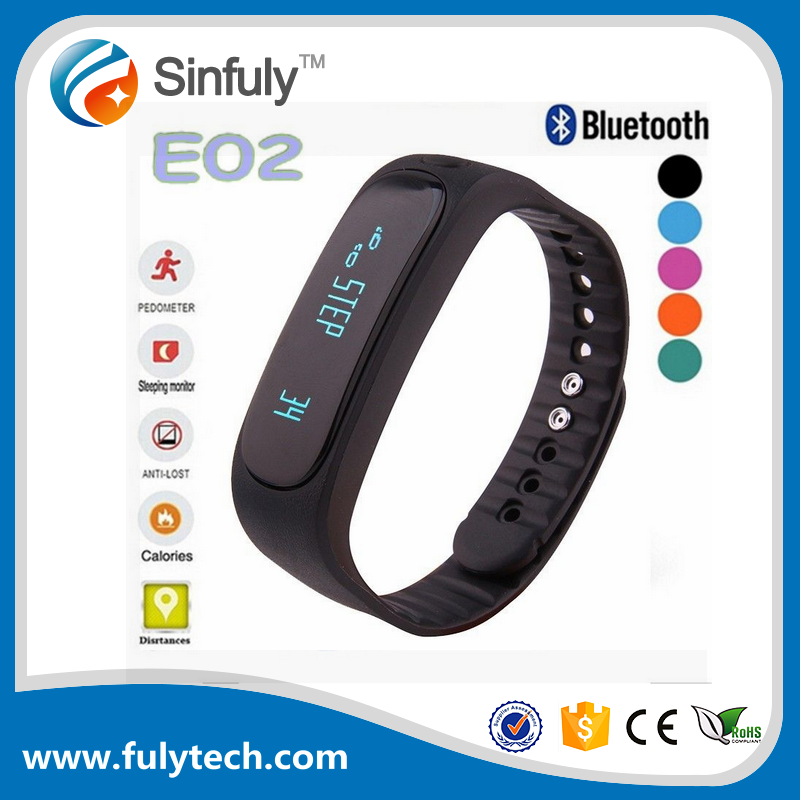 E02 Bluetooth Smart Bracelet Anti-lost Wristband Sports Fitbit with Pedometer Sleep Monitor for IOS Android Phones