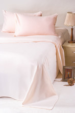 Microfiber 100% Polyester Peach Colored /Solid White Bed Sheets for Hotels and Hospitals