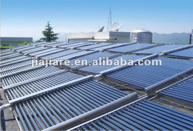 non-pressured double manifold vacuum tubes solar collectors for swimming pool,hotel school solar heating project