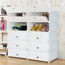 DIY plastic stackable big size white shoe shelf and sneaker rack