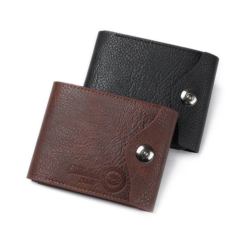 hot selling crazy horse leather material card holder for men with metal button