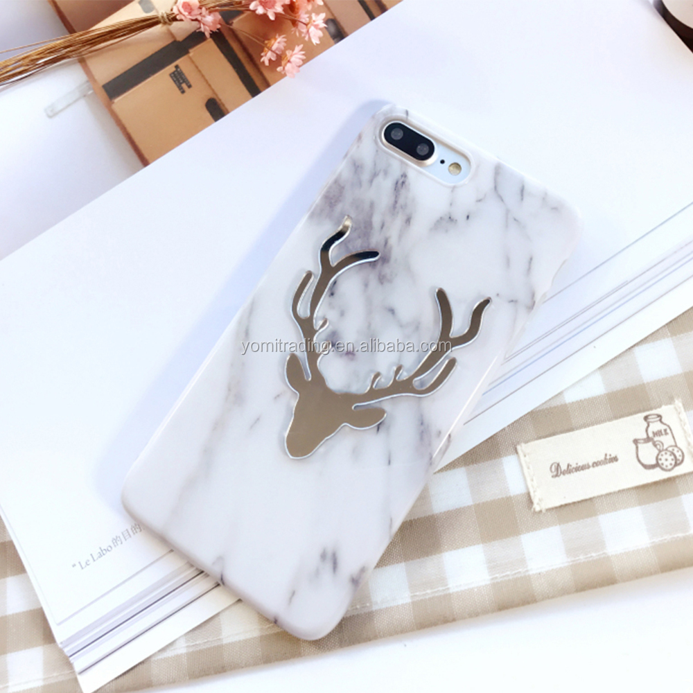 Marble stone Case For iPhone 6S 6 Plus Christmas Gift 3D Fashion Cartoon Elk Deer Hard Capa Para Back Cover Case