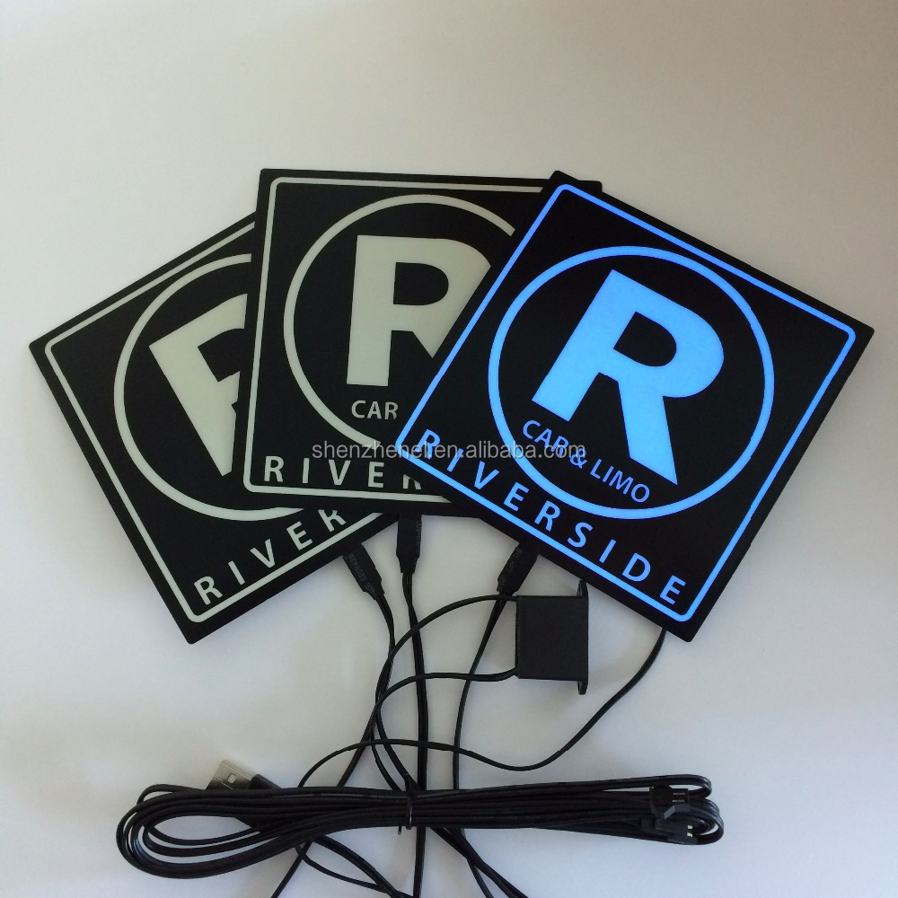 customized EL flashing car sticker with white off blue on lighting