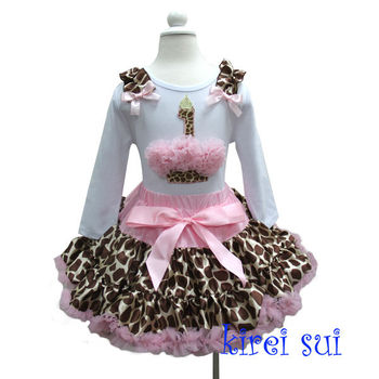 Light Pink Brown Giraffe Ruffles Pettiskirt Plus1st Birthday Cupcake White Long Sleeves Outfit 1-7Y