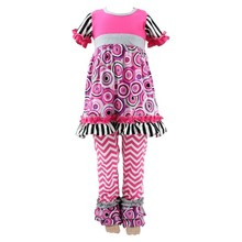 Baby clothes set flower pattern simple suit designs for girls short sleeve girls boutique sets