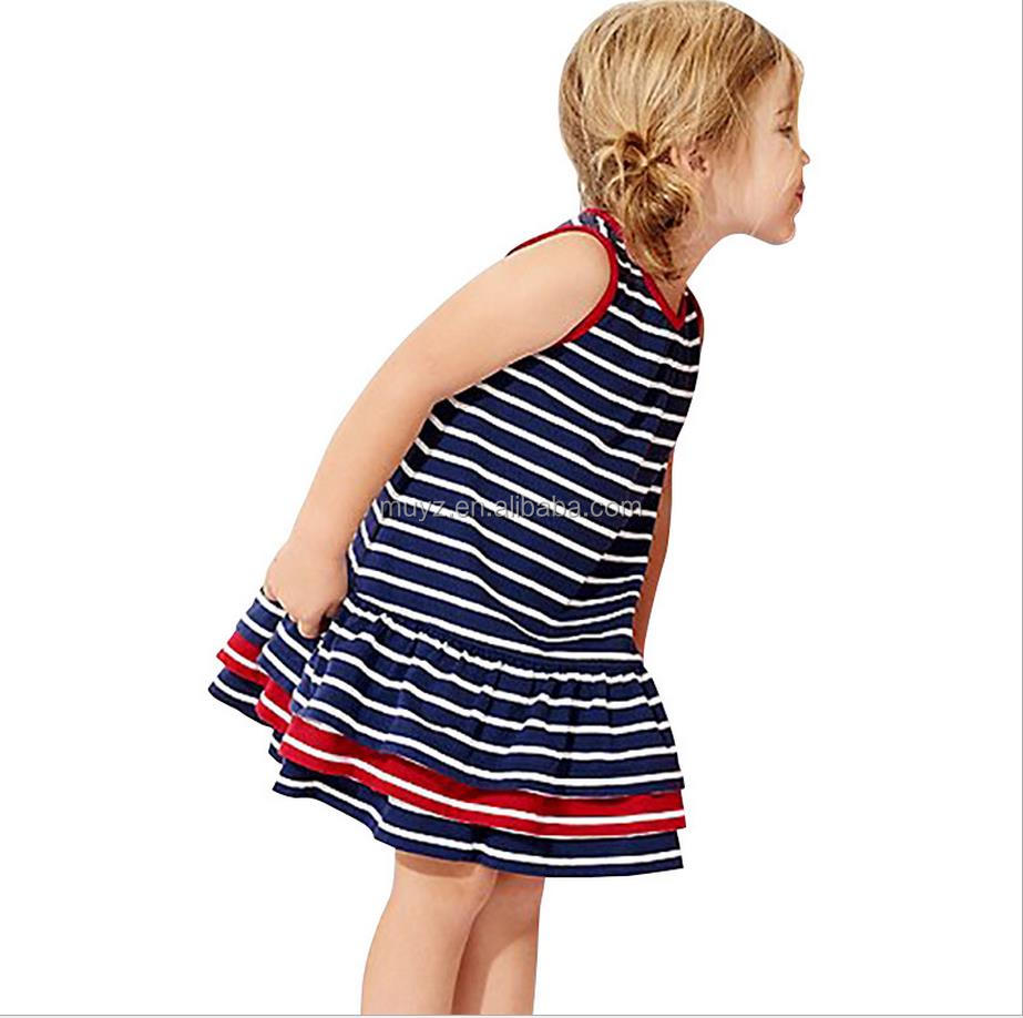 L1518A 2017 new designs 3-8 Year Sleeveless Baby Cotton Frocks Designs Baby Girl Stripes Dress