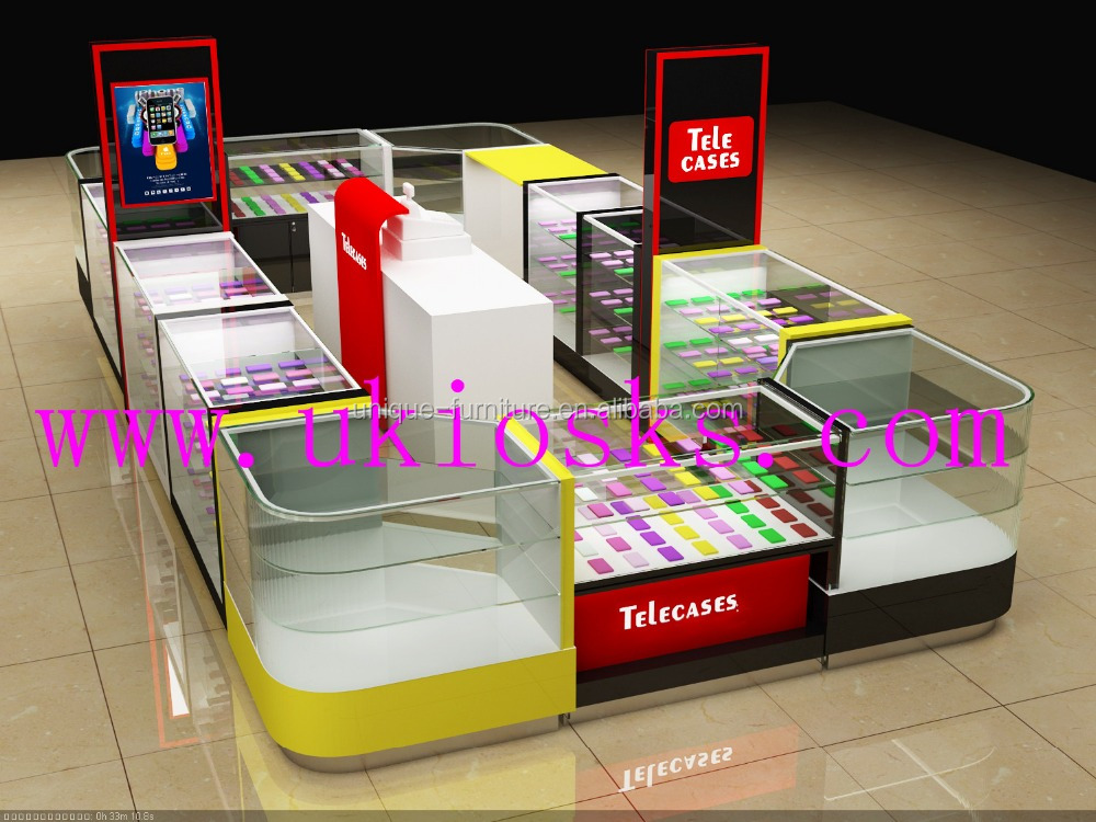 Hot sale smart cell phone display kiosk used in shopping mall with 3d max design