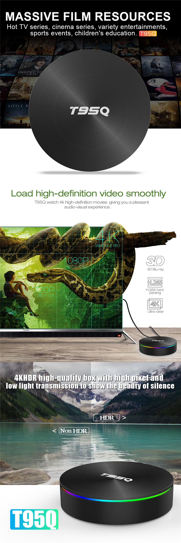 Amlogic Android 8.1 Latest Amlogic S905X2 T95Q TV Box 4GB 32GB with 2.4 / 5.8 GHz WiFi Cheap Price Android TV Box