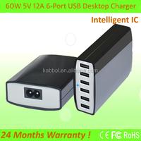 Aukey multi port usb charger 60w 6 port, 60w man USB hub charging station for iPhone 6 5S 5C 5 4S, iPad Air 2, Mini 3