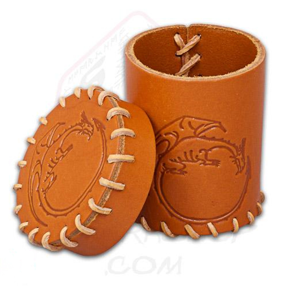 Custom Embossed Logo Leather Genuine Leather Dice Cup