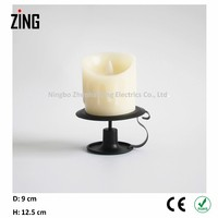 Real Wax Flicker Flameless LED metal candle holder with candle