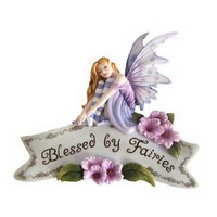 Purple resin flying miniature fairy figurines garden