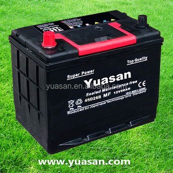 12V 50AH Lead Acid Automotive Starter 48D26R Dry Charged Car Battery -48D26R