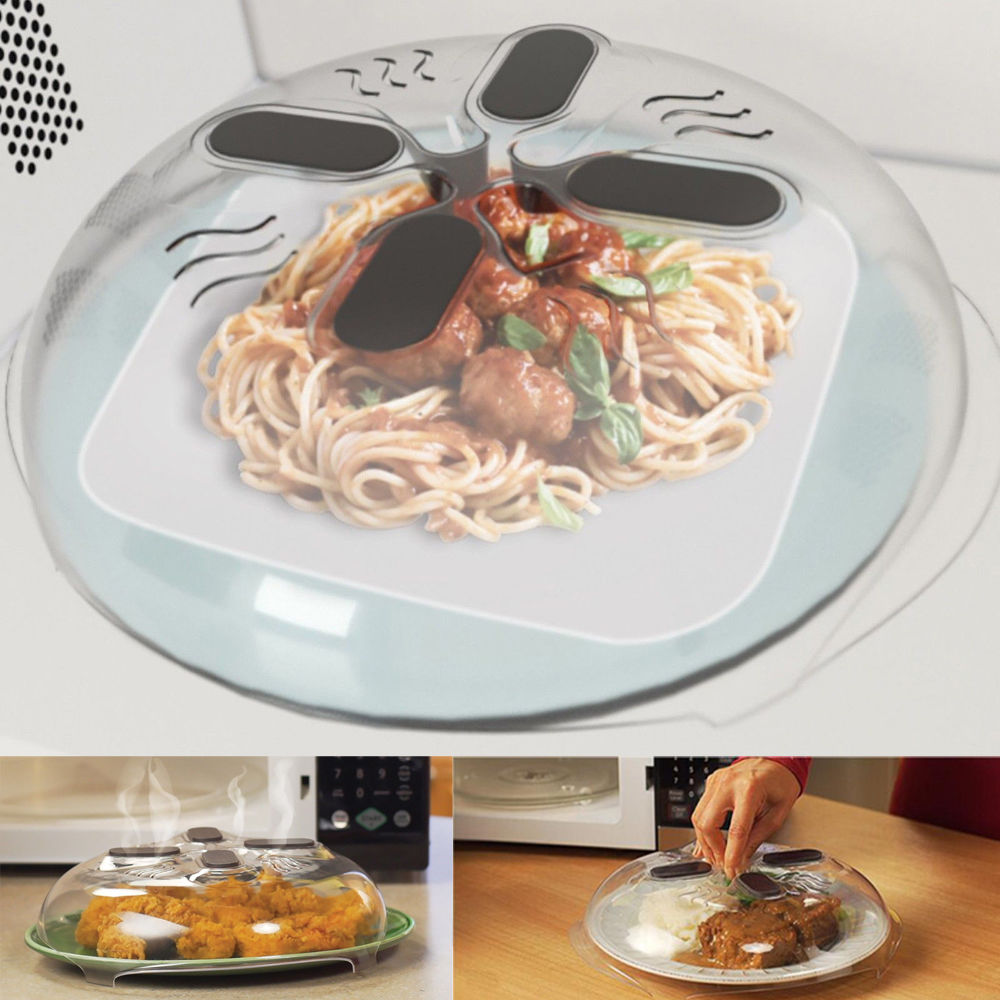 2017 Food Splatter Guard Microwave Hover Anti-Sputtering Cover with Steam Vents 4 magnets
